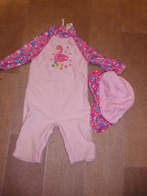Baby Girls All In One Pink Swimsuit With Sunhat By John Lewis Size 9-12 Months