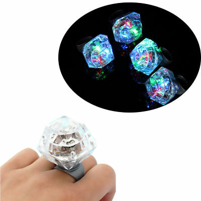 Colorful Flashing LED Light Up Diamond Finger Ring Clubbing Party Glow Toys Gift