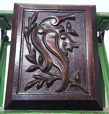 HAND CARVED WOOD PANEL ANTIQUE FRENCH GOTHIC COAT OF ARMS SALVAGED CARVING 19 th