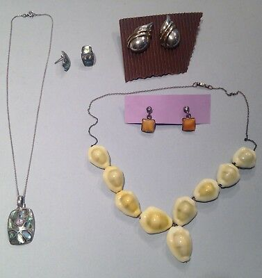 Lot of assorted vintage sterling silver jewelry   Necklace pendant earring set