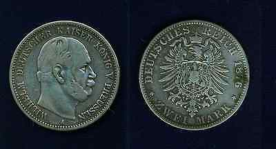 Germany  Prussia  1876-A    2 Mark Silver Coin   Vf+