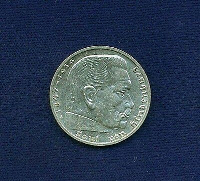 Germany Third Reich  1939-A  2 Reichsmarks Silver Coin, Almost Uncirculated!