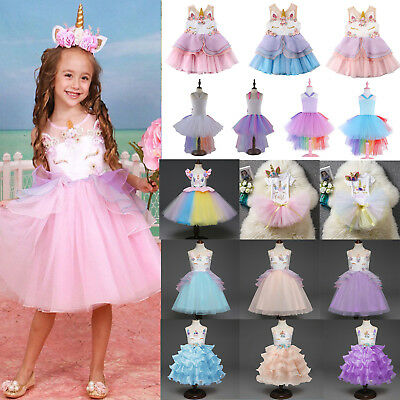 Baby Girl Unicorn Colorful Birthday Dress Fancy Princess Tutu Dress Tulle Outfit