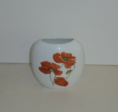 Hand Painted Opaque Glass Vase Marked Joan A Austin on base Poppies