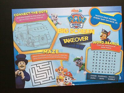 PAW PATROL NICK JR.activity  publicity mini poster; 8 x 12 inches