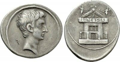 Octavian (later Augustus) AR denarius, 30-29BC, Possibly Rome mint, Curia Julia