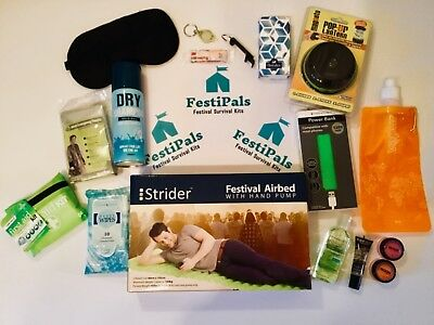 FestiPals Deluxe Festival & Camping Survival Kit. Great Xmas Gift!!!