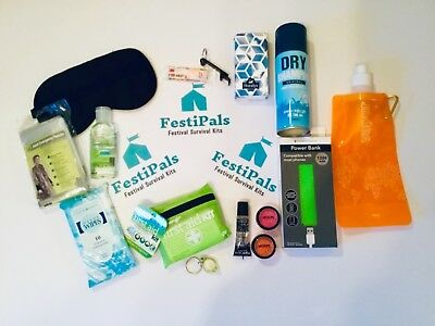 FestiPals 15 Item Festival & Camping Survival Kit. Great Xmas Gift!!!