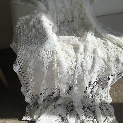 TABLECLOTH - 245 x 185cm - LACE TABLECLOTH - SNOWY WHITE - VINTAGE