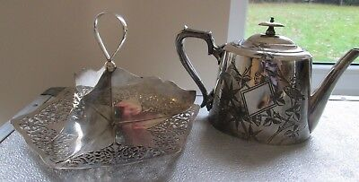 Pierced decorative cup cake stand (four sections) display & teashop teapot vgc