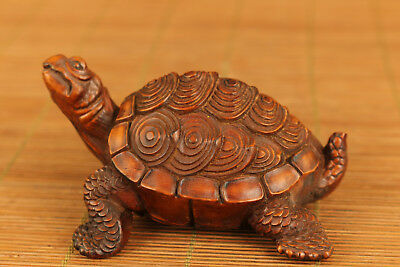 rare big chinese old boxwood hand carved turtle statue figure netsuke ornament