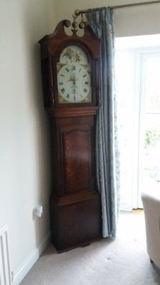 Oak Longcase Clock with Arch Painted Dial Featuring Birds & Flowers
