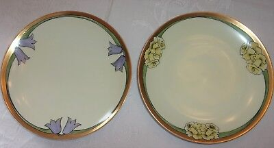 Beautiful Old Nippon Hand Painted Flower Plates With Gold Trim