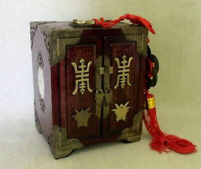 ORIENTAL WOOD, JADE & BRASS JEWELRY BOX Impressed #152 Asian Coins Chinese Knot