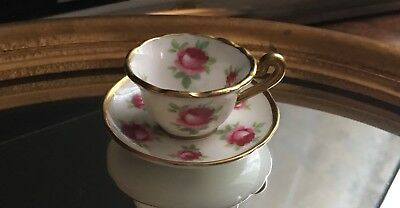 Vintage Hammersley miniature cabinet cup & saucer pink roses and gold trim