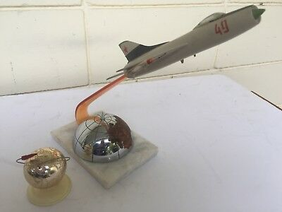 Vintage Russian Military MIG 21 and ICBM Desk Display Memorbilia