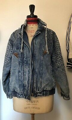 Vintage 80s Quilted Stonewash Denim Jacket