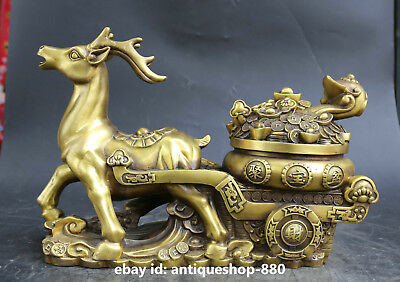 "6.3/""Collect Chinese Fengshui Bronze Zodiac Animal Lovable Tiger Pine Tree Statue"