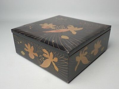 Japanese Antique Lacquered Wood Lunch Box Bento Jubako Oju Gold Gilt Makie Line