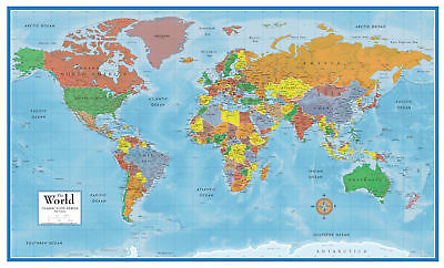 Large Laminated Us Map.Laminated World Map Poster Home Office School Wall Map Classic Huge