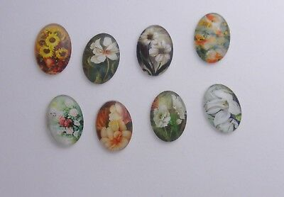 80 Glass 25X18Mm  Flower Transfer Cameos * Assorted * Lot S 9
