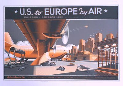 """Laurent Durieux """"US to Europe by Air"""" Private commission Print 2013 Mondo Artist"""