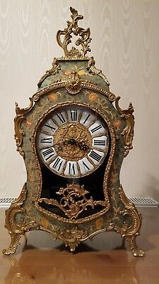 Antique French Louis XV Style Boulle Mantel Clock with Franz Hermle Movement