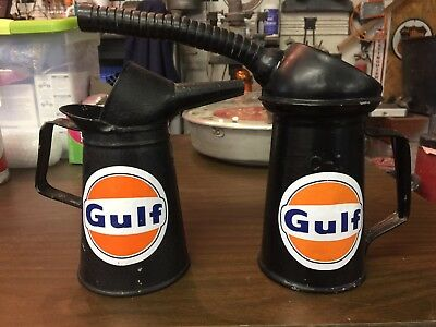 Old Service Station Vintage Gulf Gas & Oil Advertising Tin Oil Can Oilers. 1 Qt.