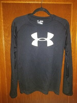 Pre-Owned Under Armour Heat Gear Boy's Loose Fit Long Sleeve Shirt Size Youth Xl