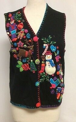 Marisa Christina The Christmas Collection Womens Sweater Vest Large Embellished