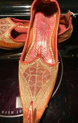Antique Decorative Leather Hand Made Middle Eastern  Slippers