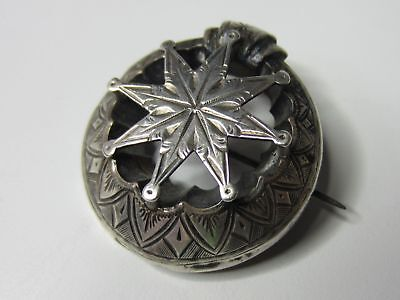 Victorian Sterling Silver Finely Embossed Cutout Star Buckle Style Brooch Pin