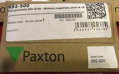 Paxton Net2 Proximity ISO Access cards part No 692-500 1 x pack of 10 cards