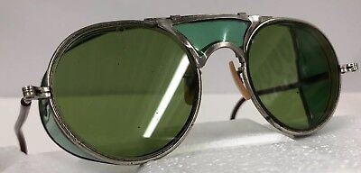 VINTAGE BAUSCH & LOMB GREEN TINTED SAFETY GOGGLES SUNGLASSES EYEGLASSES Aviator
