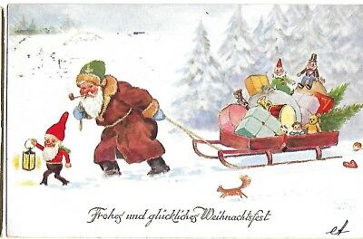 Antique Post Cards Santa Claus Pulling Sleigh Germany