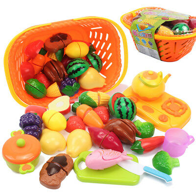 Set Kids Kitchen Fruit Vegetable Food Pretend Role Play Cutting Toys x'mas gift