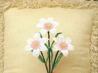 ** French Beaded Flowers ** 3 Handmade White and Pink Narcissus's **
