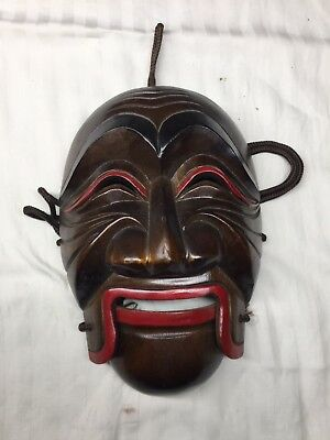 Hand Carved Japanese Noh/Kyogen Mask With Moveable Mouth
