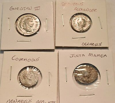 Lot of (4) Ancient Roman Coins, Serverus Alexander Denarius Gordian III Commodus