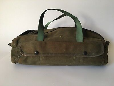Vintage Military Canvas Duffle Travel Bag Handled US Green