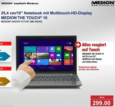 "299€ 10"" MEDION AKOYA E1318T TOUCH Netbook Laptop 4GB RAM USB3.0 Windows10 ☆ TOP"