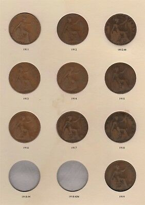 """1911-1936 Set of Great Britain George V Pennies """"Circ-XF"""" Free S/HAfter 1st Item"""