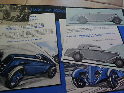 Rare Ancien - Authentique Depliant Pub - Auto - Delahaye -1935 - Les Records