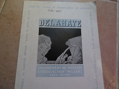 Rare Ancien - Authentique Depliant Pub - Automobile Luxe - Delahaye - 1935 Flyer