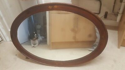mahogany antique mirror with roses on