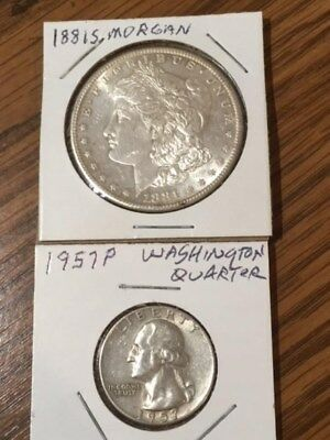 Lot Of Two Silver Coins: 1881S Morgan Silver Dollar & 1957P Washington Quarter