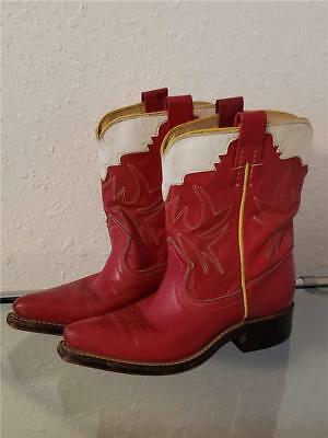 vintage 50's FRYE Childs Kids red Cowboy Leather Boots Pointed Toe 10 1/2 B