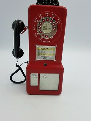 Novelty Biscuit TinRed Payphone Telephone Shaped 1950's Style Raised Detailed