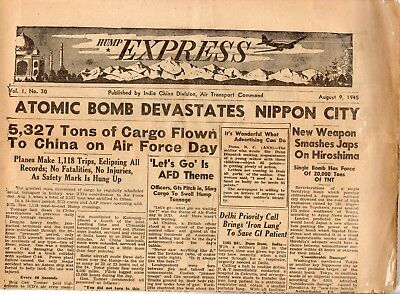 """Newspaper-""""hump Express""""august 9,1945 Issue,bombing Of Hiroshima--220/221"""