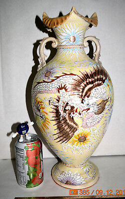 Could be RARE! Dragon & Phoenix Kinkozan Satsuma Meiji Period Footed Vase SIGNED